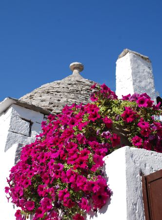 The roof of a trullo in Alberobello (Puglia, southern Italy), with pink flowers in the foreground. The trulli, which are protected under UNESCO World Heritage laws, are traditional limestone houses with domed or conical roofs, and are common in the Albero