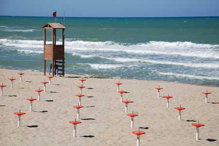sun bathers: A beach on the Italian coast out of season with no bathers or sun worshippers