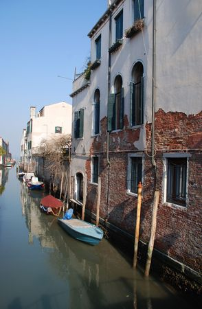 backstreet: A quiet backstreet in Venice, Italy, away from the crowds of tourists Stock Photo