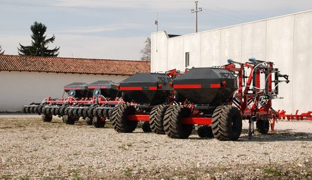 seeding: A row of new agricultural seeding machines