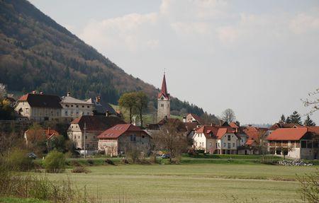 The rural Slovenian town of Planina Standard-Bild