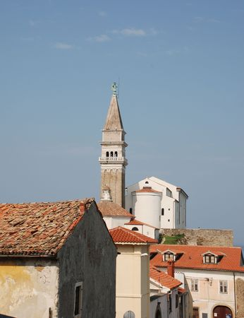 cloudless: Buildings in the historic Slovenian coastal town of Piran Stock Photo