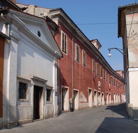 slovenian: A quiet back street in the historic Slovenian coastal town of Koper