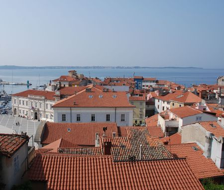 slovenian: A view across the rooftops of the historic Slovenian town of Piran