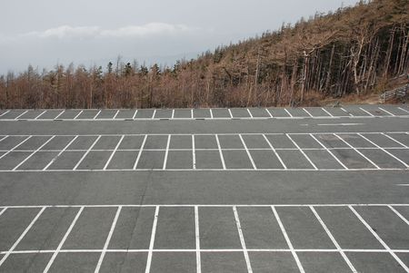 A deserted car park at the 5th Station (the highest point that vehicles can reach) on the Japanese volcano, Mount Fuji