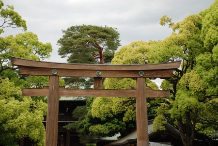 The Grand Shrine Gate in the gardens of Meiji Jingu Temple, the biggest Japanese wooden torii of the Myojin syle. The gate is composed of japanese cypress ('hinoki') and was built in 1975  Standard-Bild