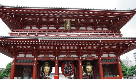 The Hozo-Mon Gate at Senso-Ji Temple in the Asakusa area of Tokyo  Editorial