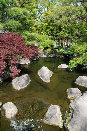 One of the many ponds in Koko-En Gardens (Nishi-Oyashiki-Ato) in Himeji, Kansai, Japan