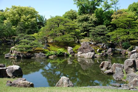 Ninomaru gardens within the UNESCO World Heritage Site listed Nijo Castle in Kyoto, Japan