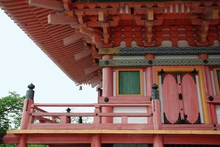 storied: The door of the tree-storied pagoda at Kiyomizudera Temple in Kyoto