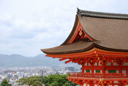 The Japanese city of Kyoto with the landmark Kiyomizudera Temple in the foreground  Stock Photo
