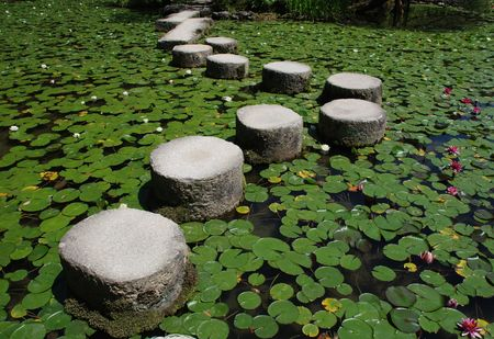 Stepping stones across a pond in the gardens of Heian-Jing Shrine in Kyoto