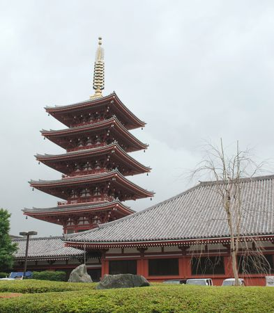 The five storied pagoda at Senso-Ji Temple in Asakusa, Tokyo  Editorial