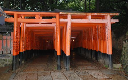 The famous torii tunnel at Fushimi Inari Taisha Temple in Kyoto