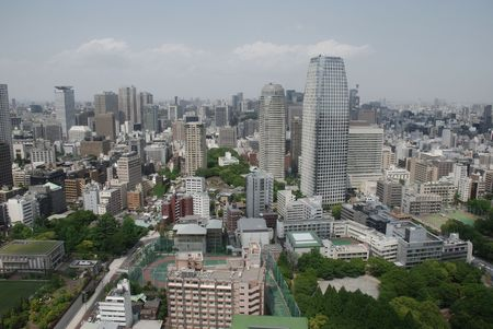 A panarama of downtown Tokyo taken from the observation floor of Tokyo Tower