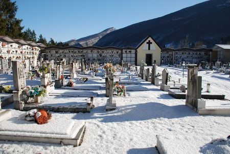 boxing day: Barcis, Italy, 12.26.08: A snowy cemetery. Despite it being Boxing Day, the cemetery is completely deserted with no visitors Editorial