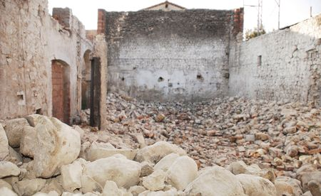 The inter of a partially demolished old stone farm building in north east Italy. Parts of the walls date from the 1600s. Stock Photo - 6475944