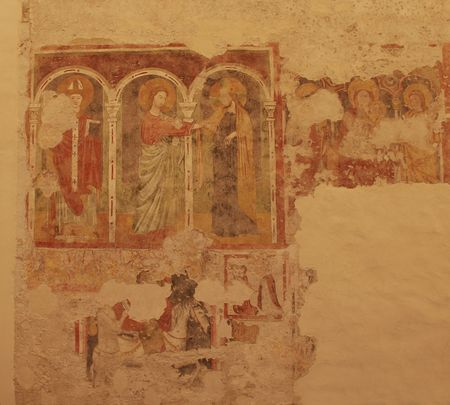 A 14th century fresco on the wall of the historic church, Chiesa di San Biagio Fresco, in Cividale, Friuli, Italy