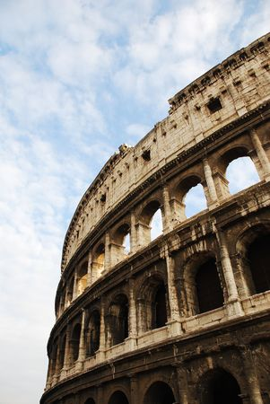 amphitheatre: The Colosseum in Rome, Italy. The iconic Colosseum is an elliptical amphitheatre, the largest ever built by the Romans.  Stock Photo