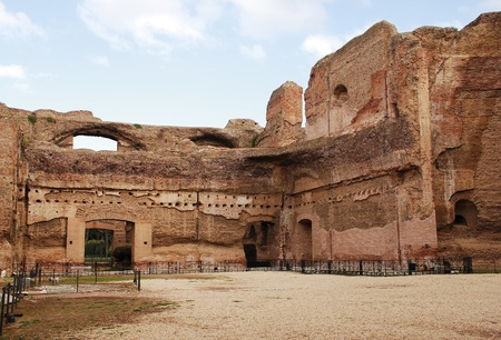 The Terme di Caracalla Roman Baths in Rome, Italy. Built in the 3rd century AD to include a library and gymnasiums in addition to the baths, it nowadays sometimes used as a concert and opera venue