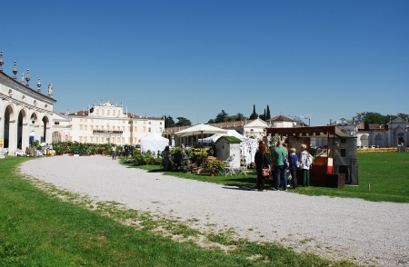 The historic 17th century Villa Manin (Codroipo, Friuli, Italy) during the 2012 Floreal � a festival, exhibition and market of rare plants and bulbs (September 15th 2012) Stock Photo - 15418607