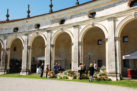 The historic 17th century Villa Manin (Codroipo, Friuli, Italy) during the 2012 Floreal � a festival, exhibition and market of rare plants and bulbs (September 15th 2012) Stock Photo - 15418609