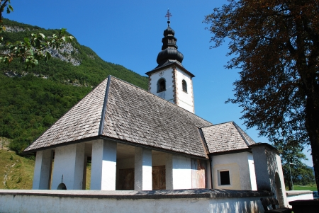 Saint Pavel's Church, also known as Sain tPaul's Church or Cerkev S V Pavla in Stara Fuzina, Slovenia. This church is part of Saint Ema's route of pilgrimage and dates from the 13th century. Stock Photo - 17122326