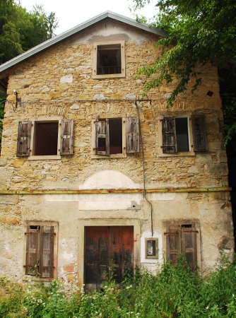 watermills: An old abandoned mill near Salino in Friuli, north east Italy  Stock Photo