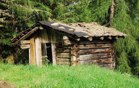 A small derelict isolated wooden hut on a mountain in north east Italy photo