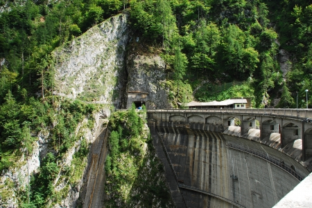 artificially: The dam on the artificially created lake Lago di Sauris  Zahre  in north east Italy