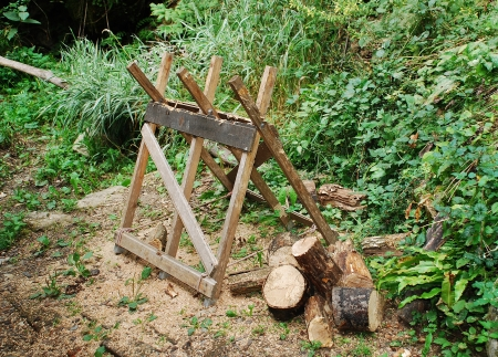 sawhorse: An old wooden sawhorse in a Slovenian forest surrounded by already-sawn logs