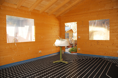 molded: A hydronic closed loop underfloor heating system laid out on molded insulated panel