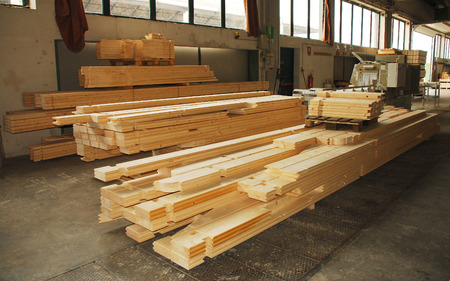 prefab: Individual cuts of wood for a prefabricated wooden  fir  house in their factory of manufacture