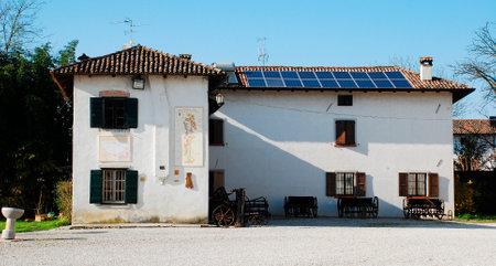 canonical: A wall on the exterior of the Friulian Farming Culture Museum (Museo della Civilta Contadina del Friuli Imperiale) in Aiello del Friuli, Italy. This one shows three sundials - the Meridiana ad Ore Canoniche or Canonical Hours Solar Clock (2000, left), the