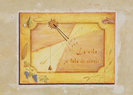 reloj de sol: Una pared en el exterior de la friulano Agricultura Cultura Museo Museo della Civilt� Contadina del Friuli Imperiale en Aiello del Friuli, Italia Esta muestra dos relojes de sol - Meridana Vera estafa Lemniscata per il Temperatura Medio o el real Sundial Local con Lem Editorial