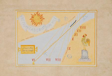 One of the many sundials on the exterior of the Friulian Farming Culture Museum (Museo della Civilta Contadina del Friuli Imperiale) in Aiello del Friuli, Italy. This one from 1998 is known as the Meridiana ad Ore DellAlba, the DawnTime Solar Clock or th