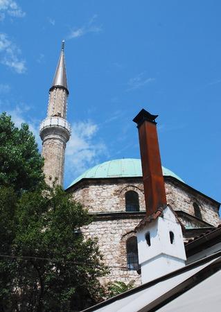 sarajevo: A mosque and minaret in Sarajevo, Bosnia and Herzegovina Stock Photo