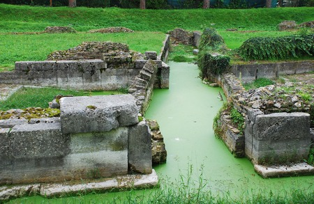 The ancient Roman stonework remains of Aquileia Fluvial Port in north east Italy