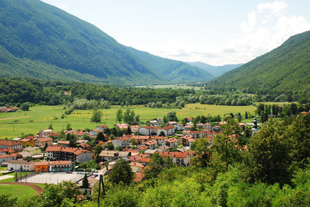 littoral: The small town of Kobarid in the Littoral region of north west Slovenia, located in the Soca Valley Stock Photo