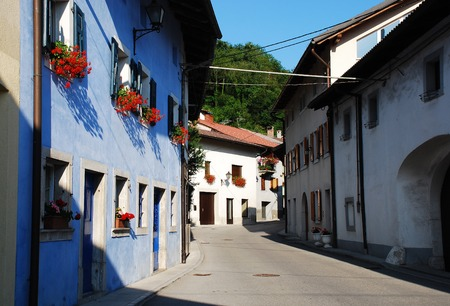 littoral: Residential buildings in the north west Slovenian village of Kobarid in the Littoral region.