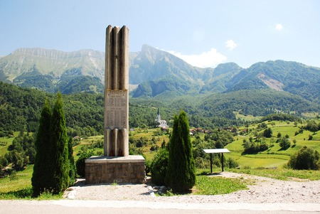 littoral: Dreznica, Slovenia - July 11th 2015. The Monument for the National Liberation War, a World War Two memorial located outside the village of Dreznica in the Kobarid municipality of Slovenias north west Littoral region. Dreznica and the Krnica, Srednji Vrh,