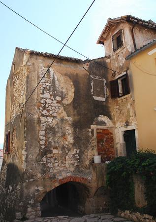 tatty: An historic old abandoned building in the western Croatian coastal town of Bakar. Stock Photo