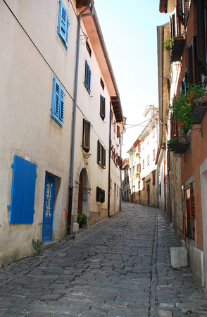 sited: A street in the Croatian medievel hill village of Motovun in cental Istria. This part of the inner village is surrounded by walls dating back to the 13th century, and is sited on the ancient Roman city of Kastelijer.