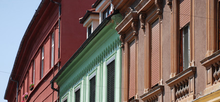 upper floor: The colourful first and second floors of a row of buildings in Celje, central Slovenia