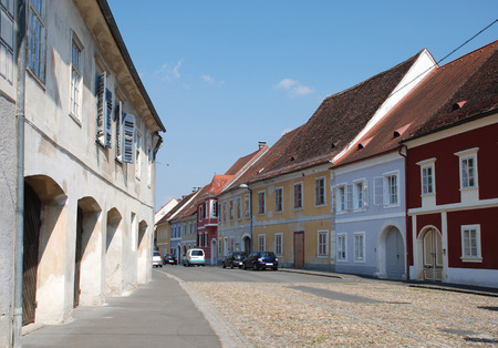 12th century: A street in the southeastern Austrian town of Bad Radkersburg, an historic spa town near the Slovenian border which was first settled in the 12th century. Stock Photo