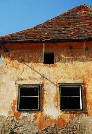 tatty: Zicki Dvor Manor in Maribor. This now derelict 14th century medieval building was a monestary of the Carthusian monks, and was later used as military barracks the early 19th century. Stock Photo