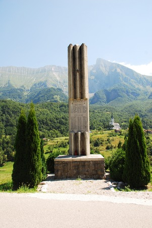 littoral: Dreznica, Slovenia - July 11th 2015. The Monument for the National Liberation War, a World War Two memorial located outside the village of Dreznica in the Kobarid municipality of Slovenias north west Littoral region. Dreznica and the Srednji Vrh and Krn