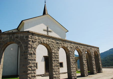 littoral: Arches of the Italian Charnal House located on Gradic Hill in Kobarid, in the Littoral region of north east Slovenia. Opened in 1938, it contains the remains of 7,000 Italian solders who were killed in the First World War. The church Kostnica Cerkvijo Sv.