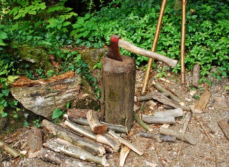 firewood: An old axe with a wooden handle on a log chopping block in a Slovenian forest. The axe and block are surrounded by logs that have been chopped for firewood Stock Photo