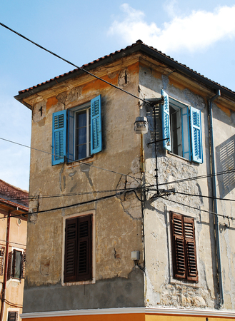disrepair: An historic old building in the southern Istrian town of Pula in Croatia. Stock Photo